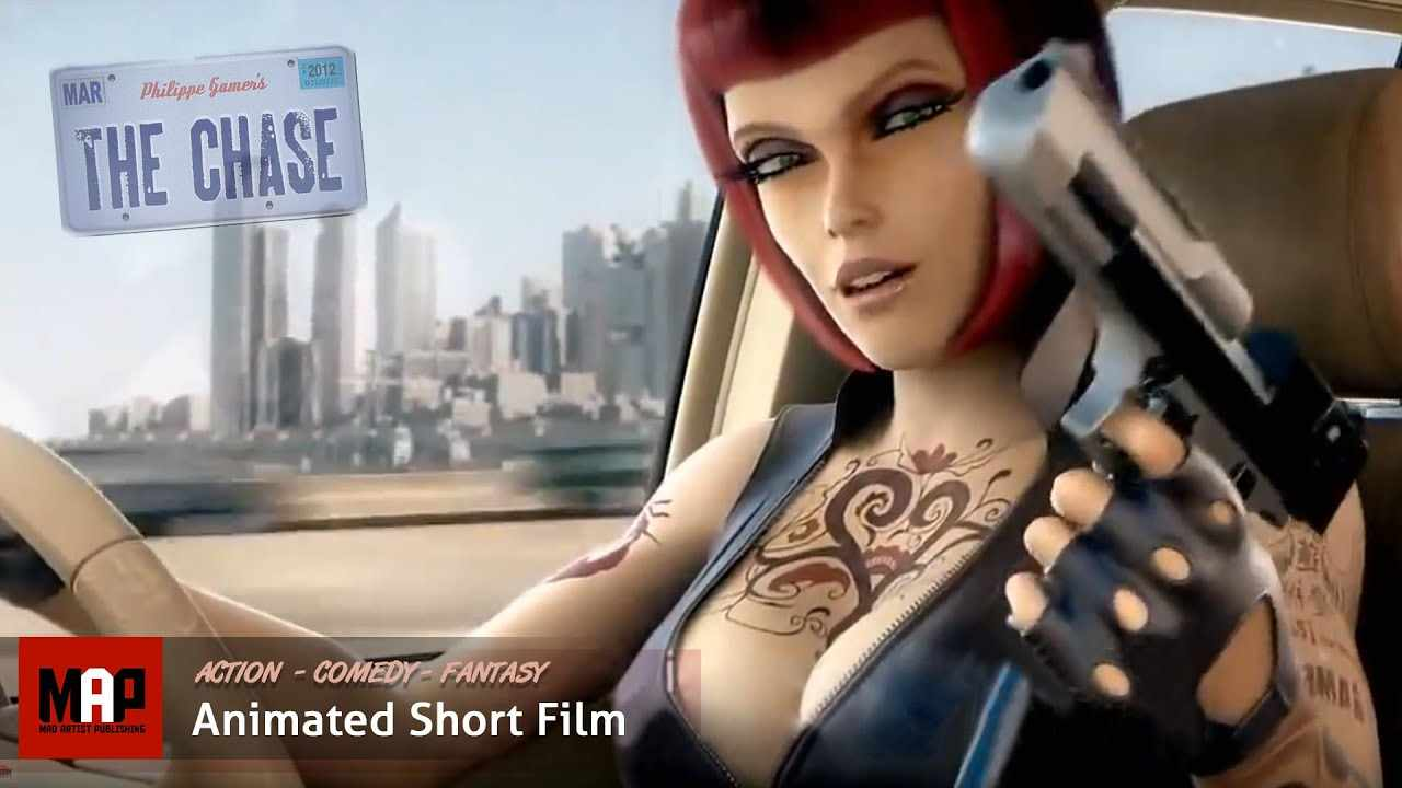 Action CGI 3d Animated Short Film ** THE CHASE ** Sexy Ladies Cop Chase Animation by Space Patrol
